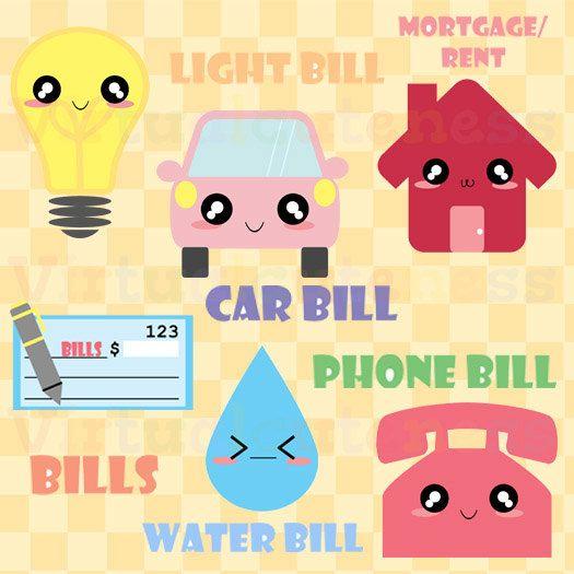 Kawaii Monthly Bills Clipart - Bills, Mortgage, Phone, Cute ...