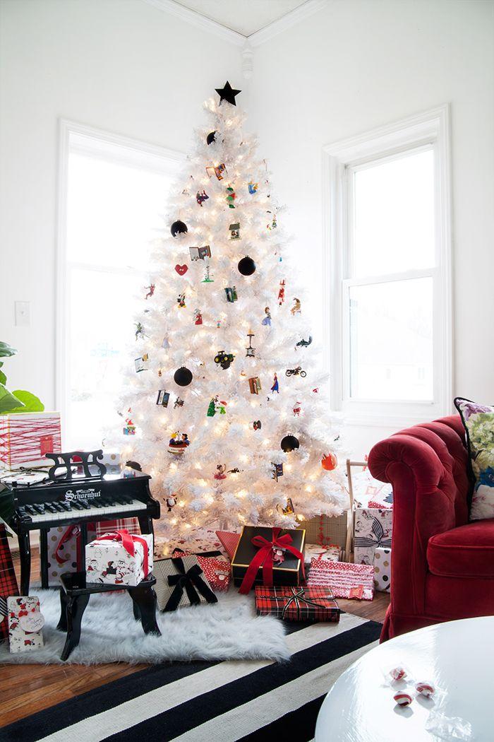 The Makerista: Kids Playroom White Christmas Tree with Hallmark Ornaments