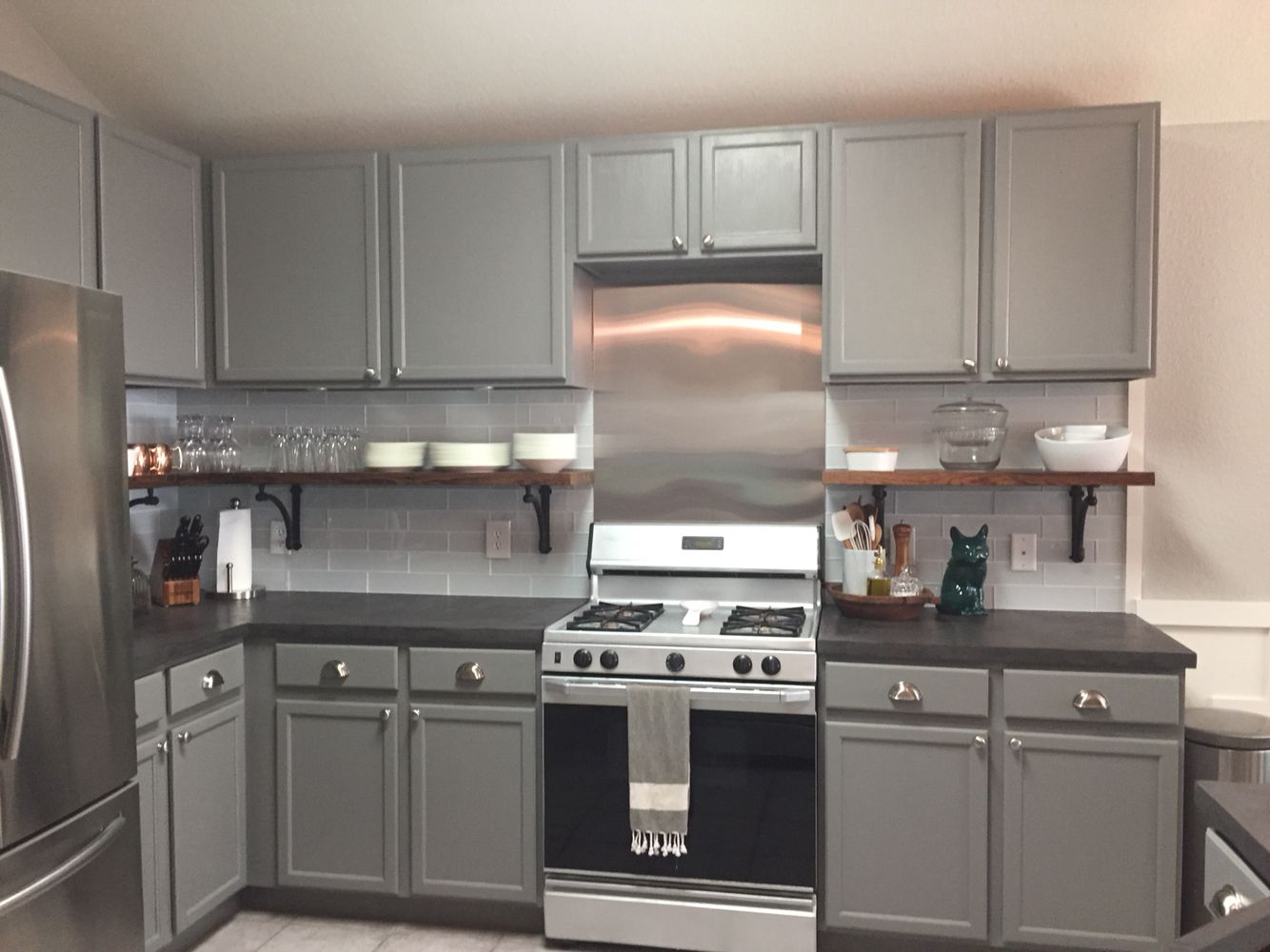 Kitchen design in austin with flat panel cabinets stainless steel - My Updated Kitchen As Of May 2015 With Ardex Feather Finish Concrete Countertops White 3x12 Glass Subway Tiles From Lowes Stainless Steel Backsplash