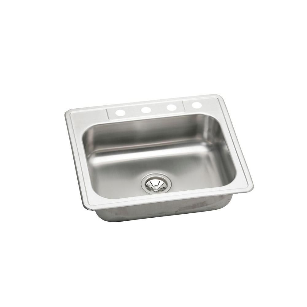 Neptune Drop-in Stainless Steel (Silver) 25 in. 4-Hole Single Bowl ...