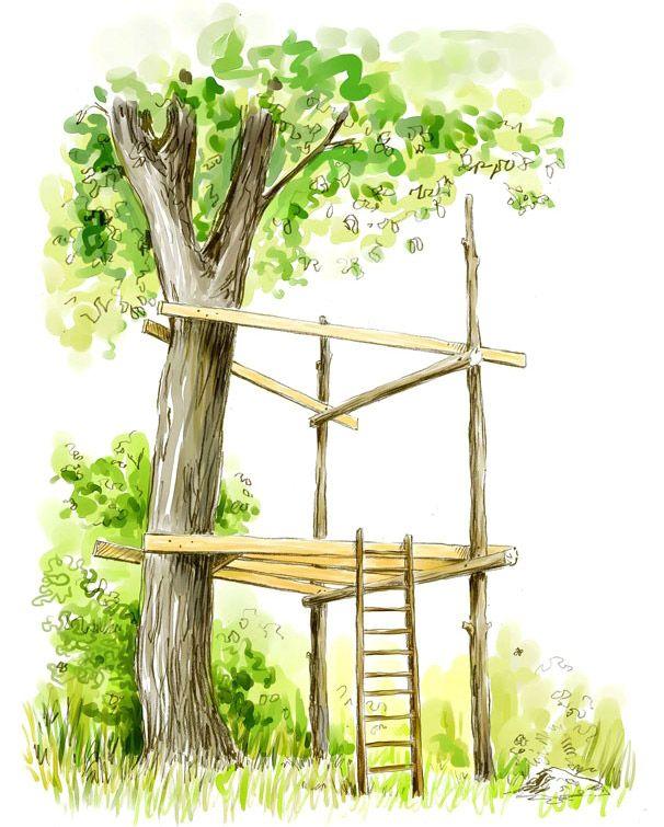 Une cabane dans les arbres les arbres cabanes et vivre - Construire une cabane dans un arbre ...