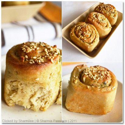 Eggless Whole Wheat Garlic Buns / Garlic Rolls