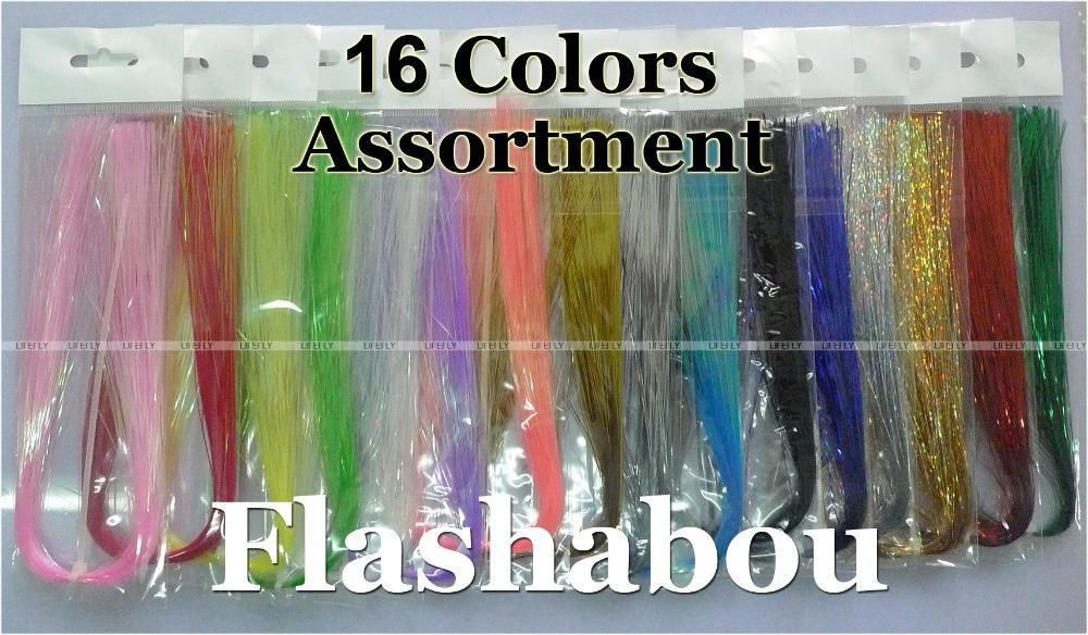 16 Colors 16 Packs Flashabou Holographic Tinsel Flash Fly Tying