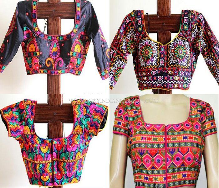 46d4dc4a378be plain saree with kutch work blouse Kutch Work Saree