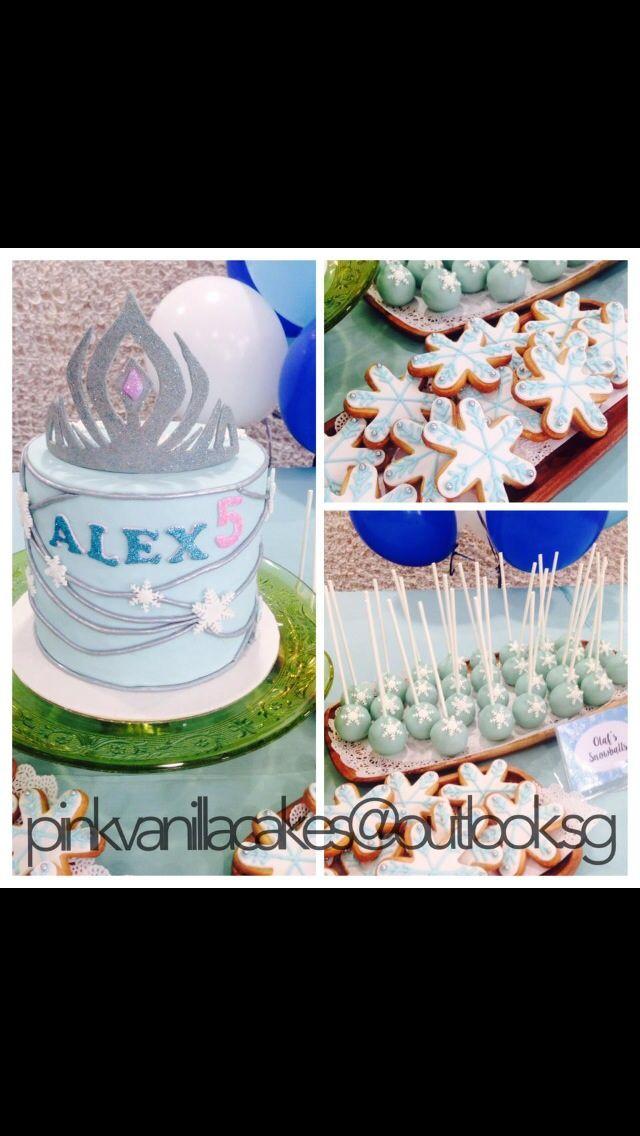 Frozen Theme Birthday Cake 3d Cake Singapore Snowflake Cookies