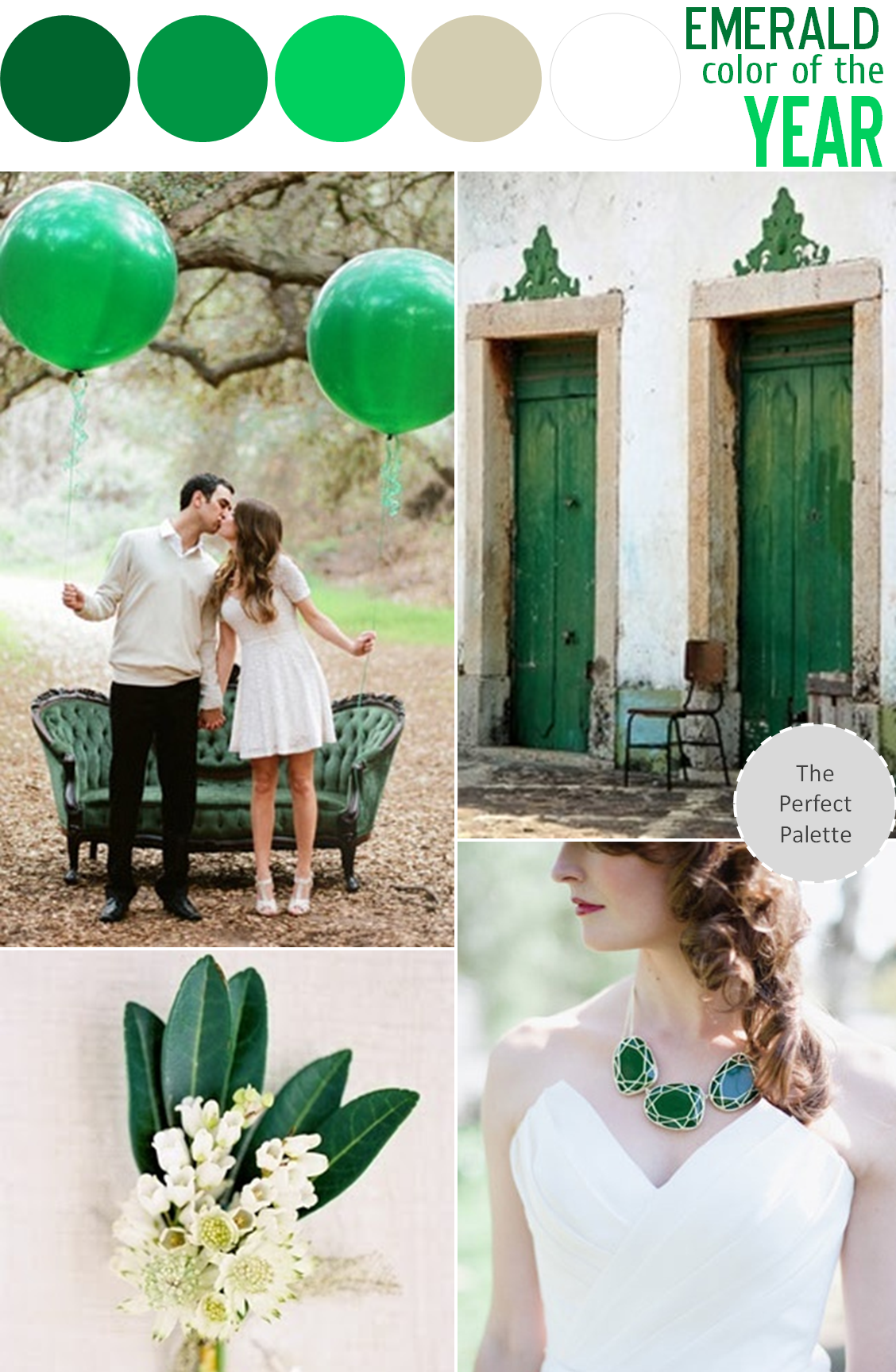 Emerald Wedding Colors Greens Silver And White