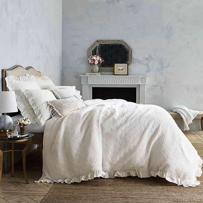 Wamsutta Vintage Blythe Jacquard Ogee Waffle Textured Bedding Collection In White Bed Bath Beyond Textured Duvet Cover Textured Duvet Textured Bedding