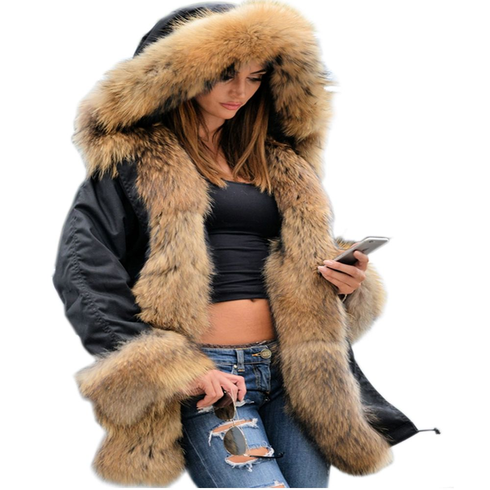 605d8c8ca16 Roiii 2018 Winter Jacket Women Long Hood Faux Fur Liner Warm Causal  Military Overcoat US Size S-3XL Plus Size Snow Parka Outwear   WomensClothing  coats ...