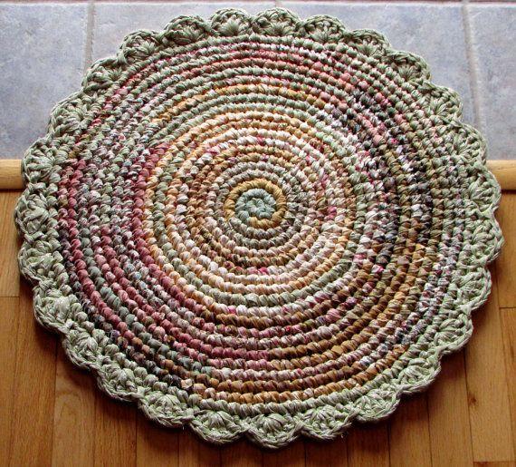 Rag Rugs For Sale Australia: Rag Rug Crocheted Round Scalloped Border Layaway Von