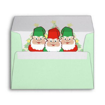 Christmas Gnomes Envelope | Zazzle.com #christmasgnomes
