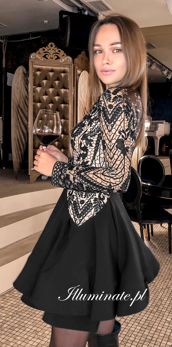 Inez Czarna Sukienka Dlugi Rekaw Rozkloszowana Na Wesele Koronkowa Dresses Long Sleeve Dress Evening Dresses