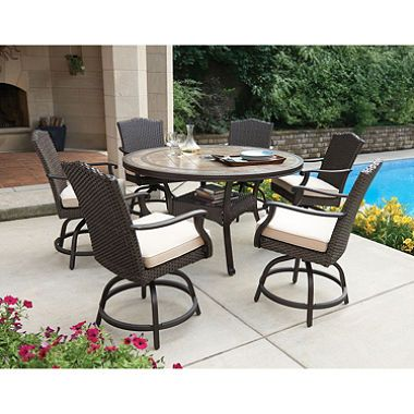 Good Memberu0027s Mark Heritage 7 Piece Balcony Height Dining Set With Premium  Sunbrella® Fabrics