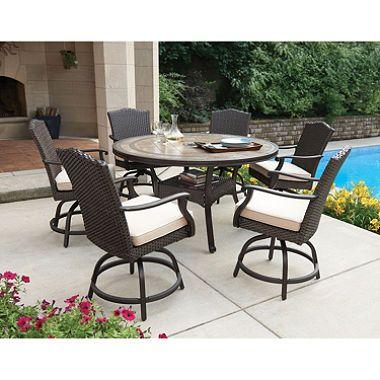 Member S Mark Heritage 7 Piece Balcony Height Dining Set With Premium Sunbrella Fabrics