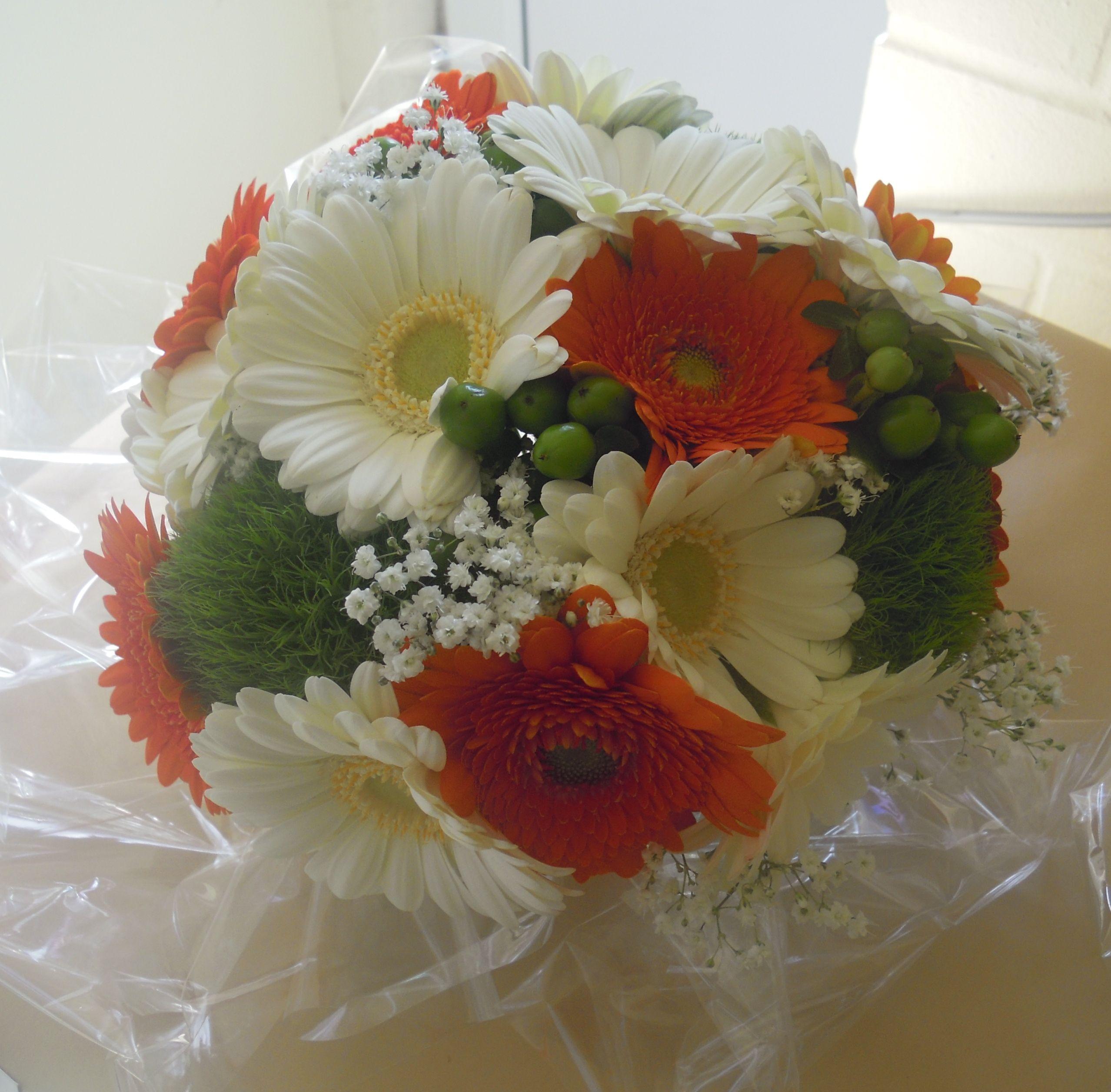 Bridal Bouquet Of Orange And White Gerbera Green Tick Pom Poms