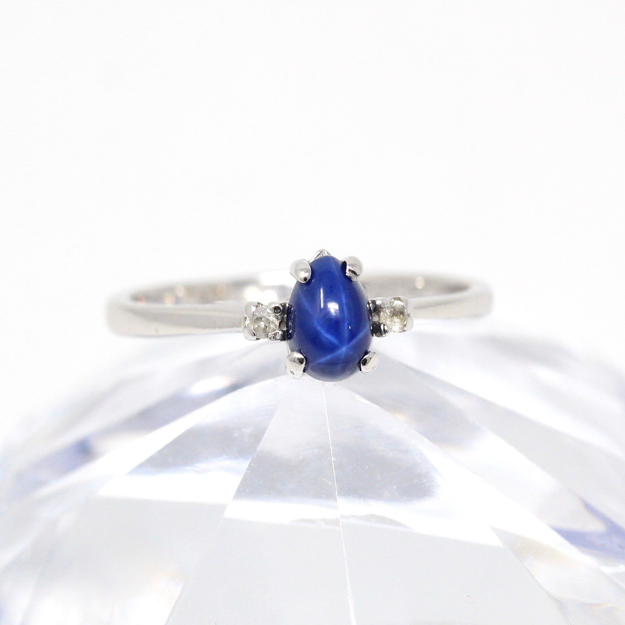 Created Star Sapphire Ring Vintage 10k White Gold Blue Cabochon September Birthstone Re In 2020 Vintage Sapphire Ring Star Sapphire Ring Vintage Star Sapphire Ring