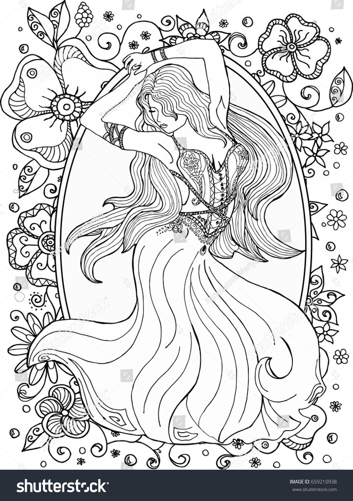 Coloring pages for adults girl in a dress dancing. | aa ...