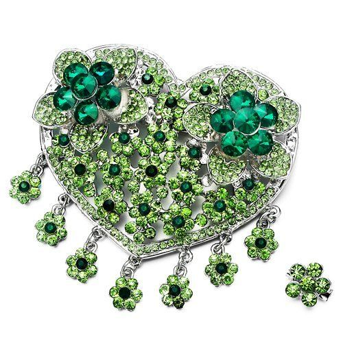 Pugster Luxury Vintage August Birthstone Green Crystal Heart Flower Set Brooches And Pins Pugster. $19.19. Money-back Satisfaction Guarantee. Can be pinned on your gown or fastened in your hair with bobby pins.. Occasion: casual wear,anniversary, bridal, cocktail party, wedding. One free elegant cushioned Gift box available with every order from Pugster.. Exquisitely detailed designer style,Swarovski element crystal. Save 20% Off!