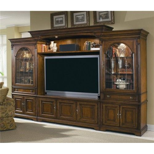 Brookhaven Entertainment Center with Interchangeable Wood/Glass ...