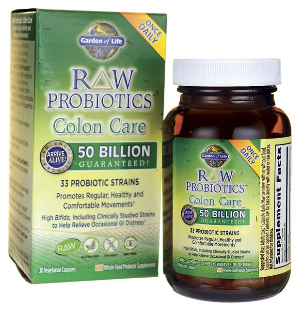 Garden of Life Raw Probiotics Colon Care | 50 Billion CFU | 30 Veg ...