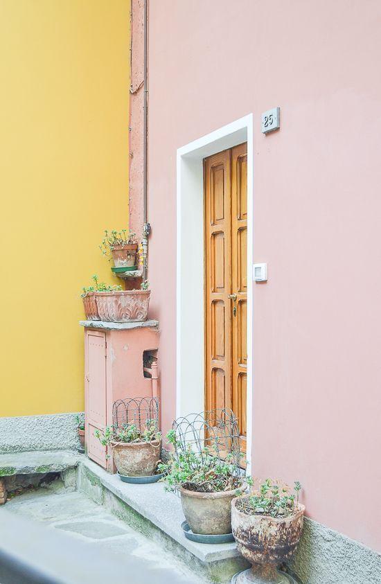 Pastel House Corner Pink Yellow Door