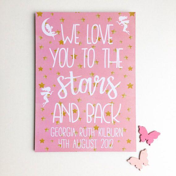 Star Nursery Plaque Pink Fairy Bedroom Art Love by PurpleHeartUK