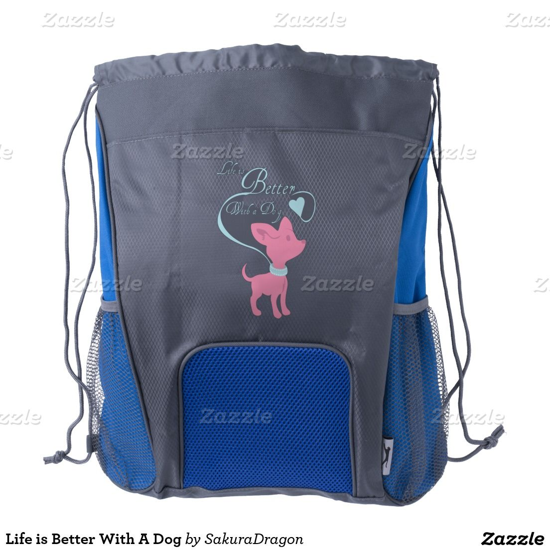 Life is Better With A Dog Drawstring Backpack #dogs #puppy #animals #chihuahua #pink