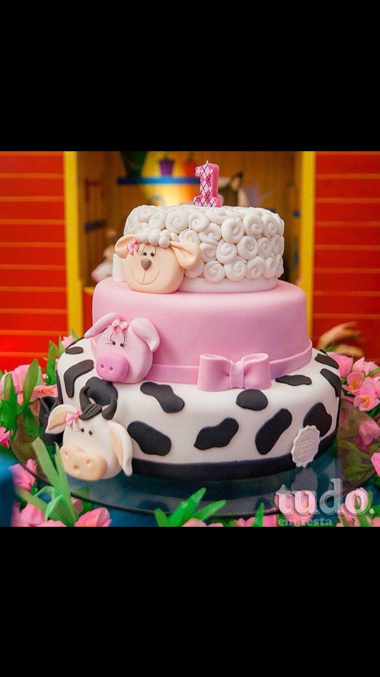 Animals Cake Cumple Pastel De Granja Fiesta Tema Granja Y