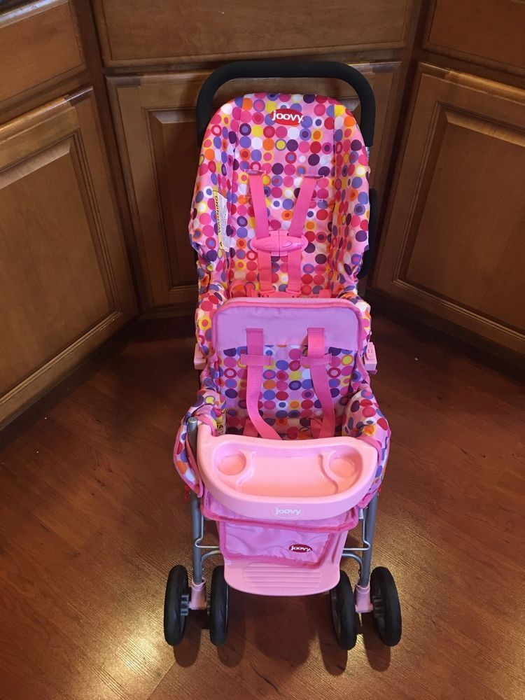 Joovy Toy Baby Doll Caboose Tandem Stroller Pink Dot Car