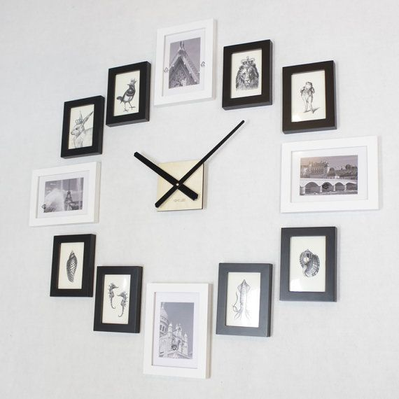 Photo Picture Frame Wall Clock Modern 12 Black Etsy Wall Clock With Pictures Photo Wall Clocks Picture Frame Wall