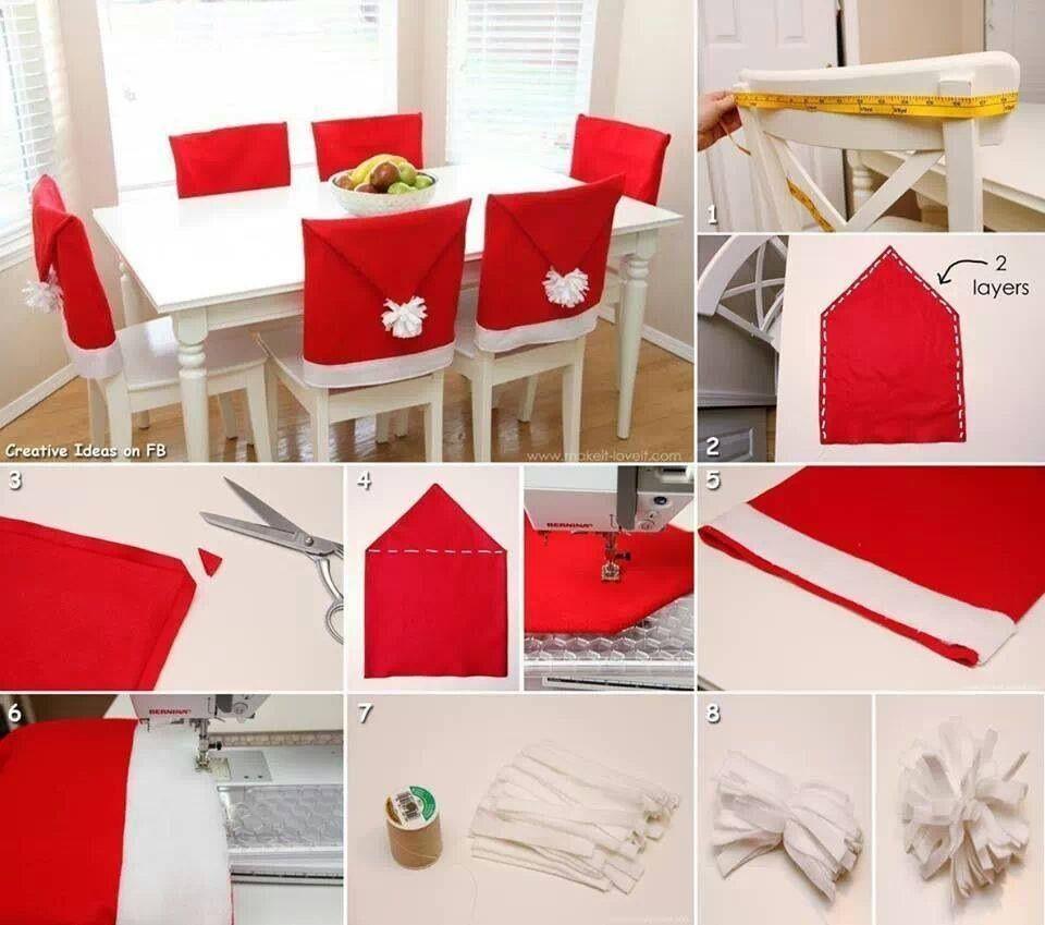 Navidad ambienta comedor cubriendo sillas en rojo