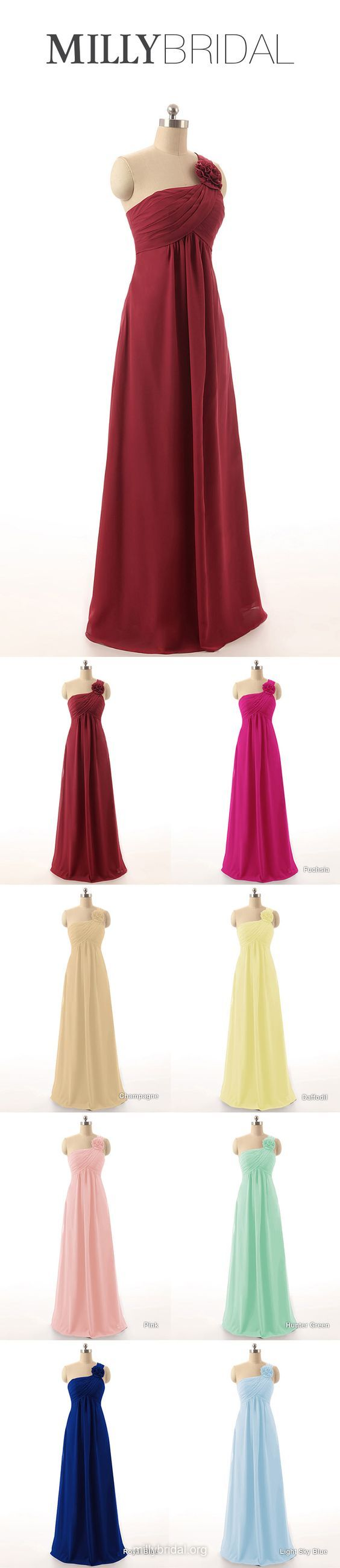 Long bridesmaid dresses burgundy empire bridesmaid dress one