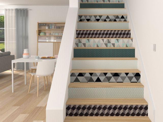 Escalier graphique papier peint   idée déco   Pinterest   Escaliers ...