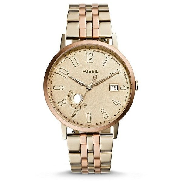 Fossil Vintage Muse Beige Gold-Tone Three-Hand Date Stainless Steel... ($165) ❤ liked on Polyvore featuring jewelry, watches, stainless steel jewelry, fossil jewelry, vintage wristwatches, vintage jewellery and fossil wrist watch