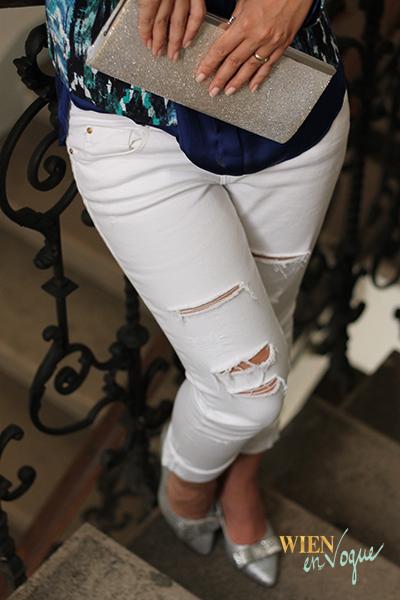 WIEN EN VOGUE #dinneroutfit #dinnerlook #fashion #newlook #whitejeans #silverclutch