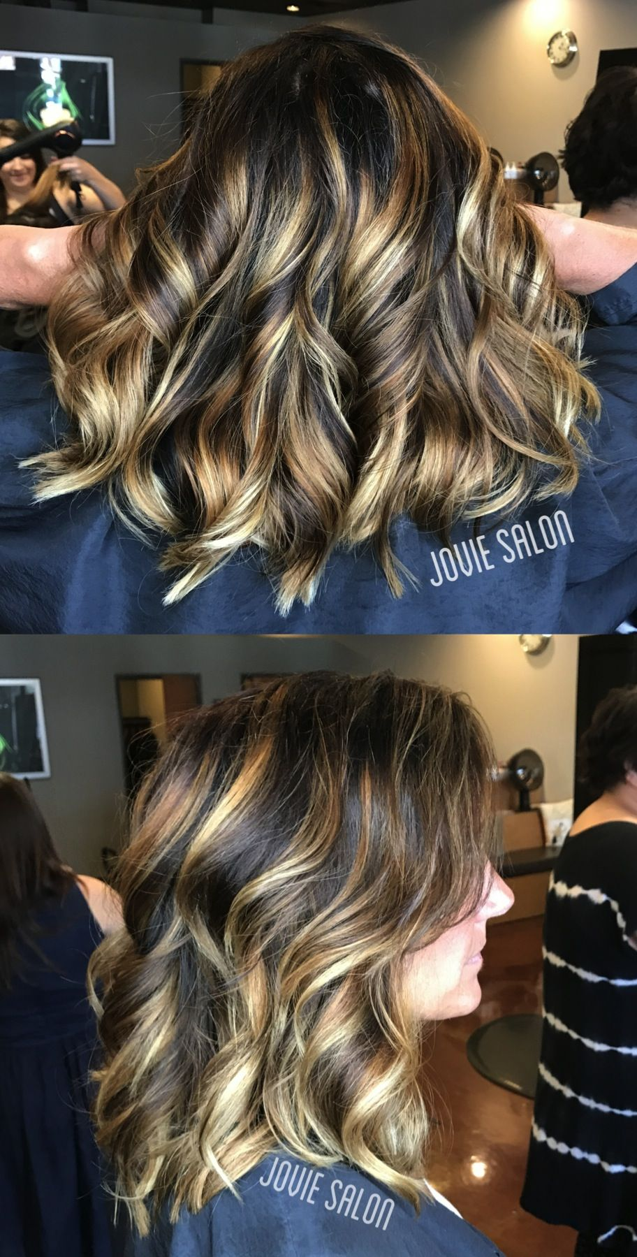 Bright balayage with a chocolate brown shadow root by
