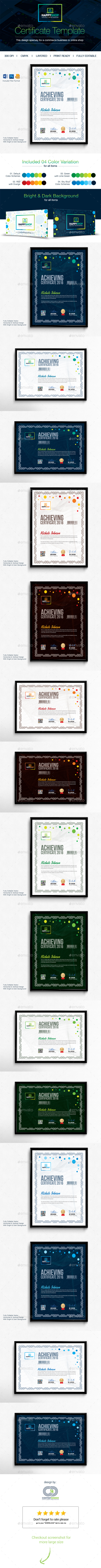 Certificate Template PSD, Vector EPS, AI #design Download: http ...