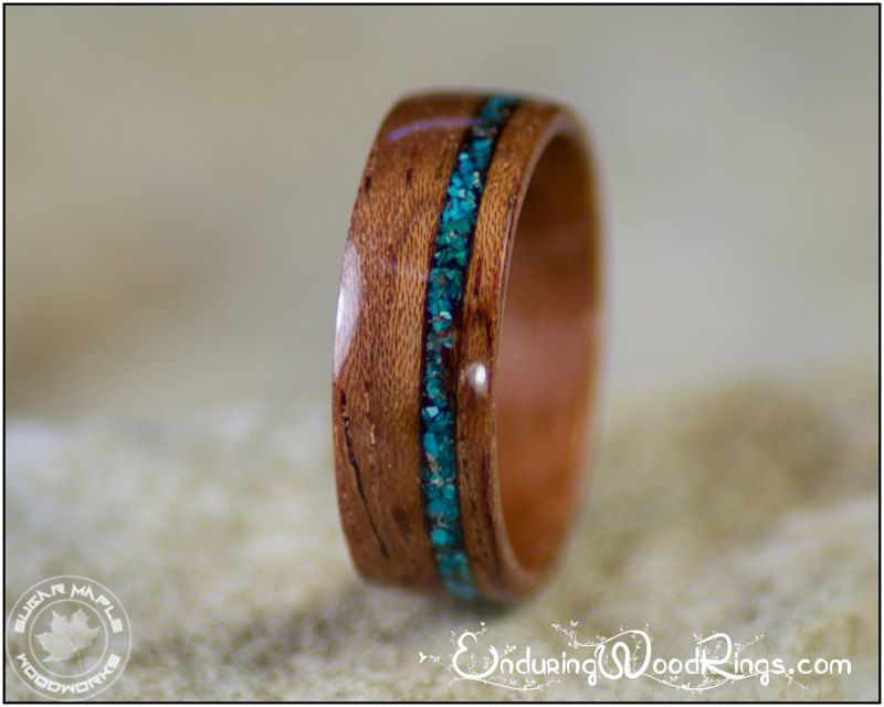 bubinga wood ring with chrysocolla stone inlay wood wedding ring mens wood ring womens wood ring wood engagement ring bent wood rings usd by - Wood Wedding Rings For Men