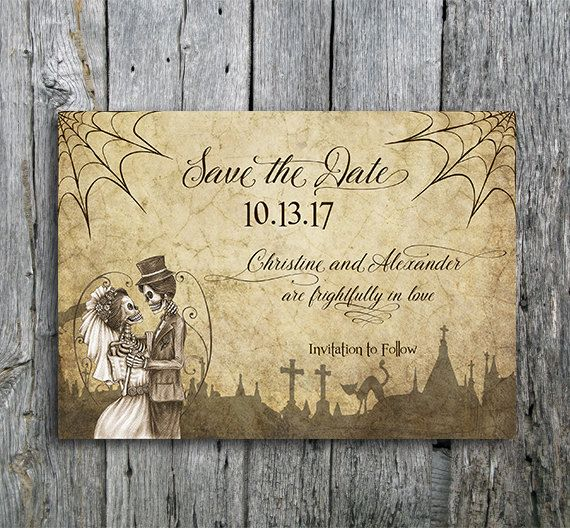 Halloween Save The Date Card With Skeletons Spiderwebs And