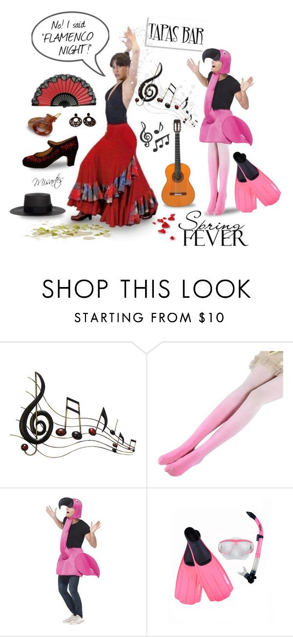 """Ruffled Feathers?"" by misartes ❤ liked on Polyvore featuring Benzara, Janessa Leone, ruffles, humor, artandexpression, humour, flamingo and flamenco"