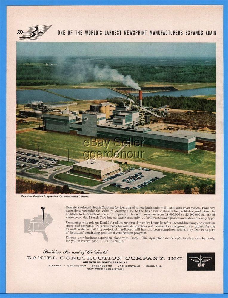 1960 Daniel Construction Greenville Sc Bowaters Carolina Corp