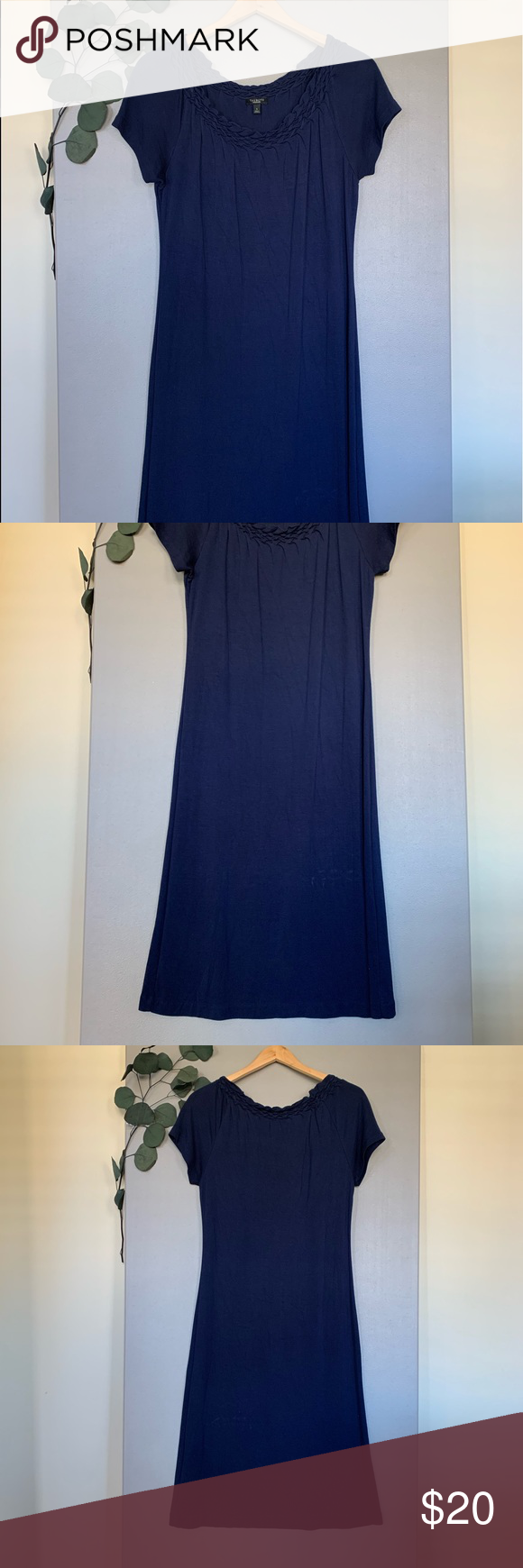 "Talbots Shift Dress Short Sleeve S Size Navy Blue This beautiful dress is in excellent condition! Looks like new! Soft stretchy material. Chest 18"" Waist 16"" Length 42"" **All measurements taken flat ** Dresses Midi #navyblueshortdress"