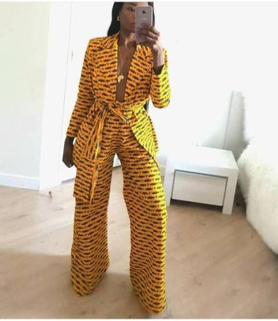Africain impression Ankara pantalon large et blazer veste africain duster africain wax africain kimono et pantalon
