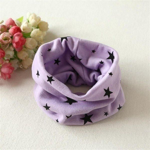 Boys snood scarf grey with stars