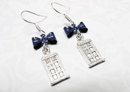 Police Box Bow Earrings, blue bow, inspired by Doctor Who TARDIS http://www.artfire.com/ext/shop/product_view/7742025