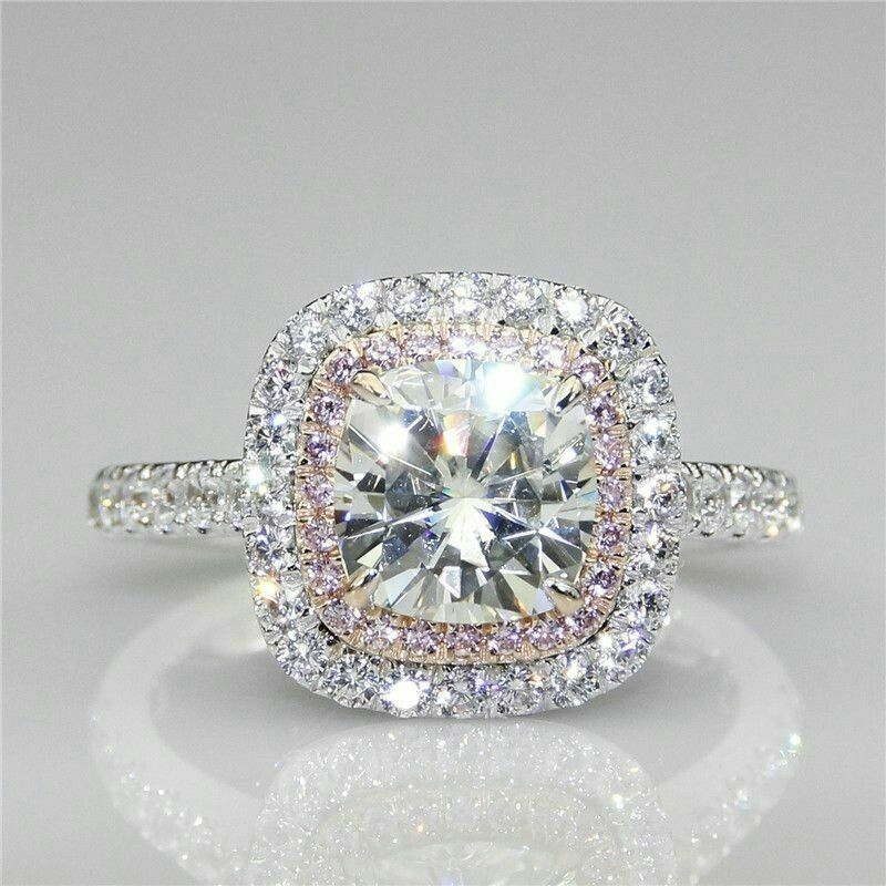 Certified 3.30Ct Round White Diamond Engagement Ring in Solid 14K White Gold