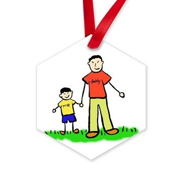 """#Ornament of #Father and #son holding hands. The man's shirt read #daddy and the little boy's shirt reads """"me"""". The #family is #Asian. There are multiple #ethnic versions of the image. #DaddysBoy"""