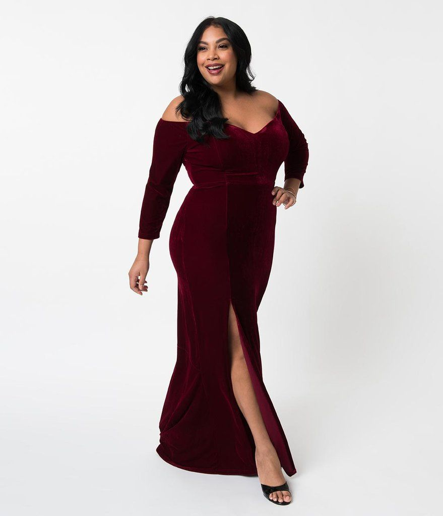 Collectif plus size wine red velvet off shoulder sleeved anjelica