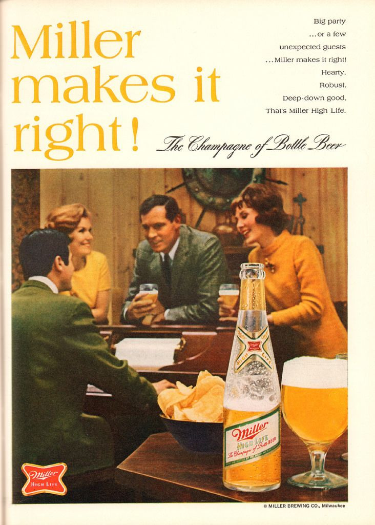 Miller High Life Beer, 1968.