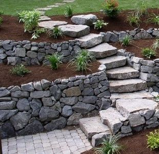 Gabion stairs retaining wall ideas simple low cost - Low cost landscaping ideas ...