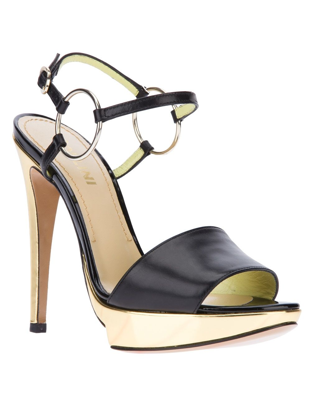Pollini Black Metallic Heeled Sandal